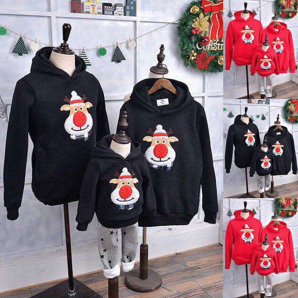 DIHOPE nowa rodzina pasująca do dzieci odzież świąteczne swetry nadruk w jelenie rodzina kombinezon dla dzieci bawełniane z nadrukiem sweter