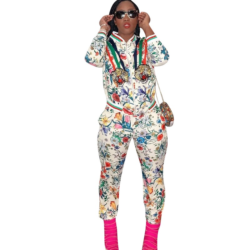 Tiger & Floral Printed Striped Side Zipper Long Sleeve Jacket + Elastic Waist Pencil Trousers Fashion Women Suits LM039G