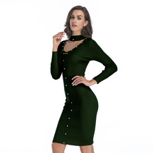 Autumn Red Knit Dress Womens Wool Knitted Rivets Decorated Slim Round Neck Rivet Decoration Women Warm