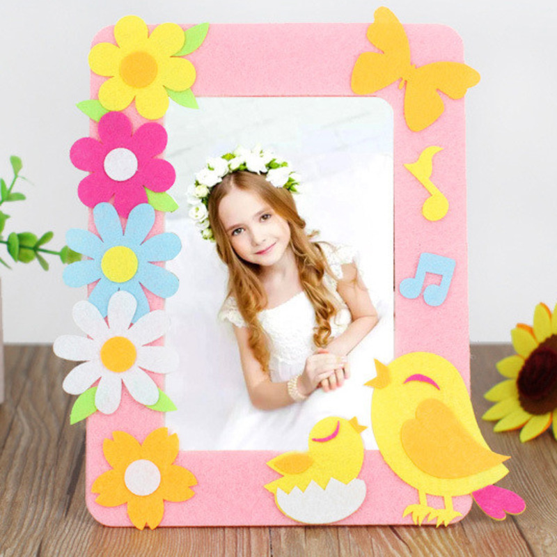 DIY 3D Photo Frame Cartoon Animal Picture Frame Non-Woven Toys For Children Handmade Stickers Toys Material Package Craft Toys