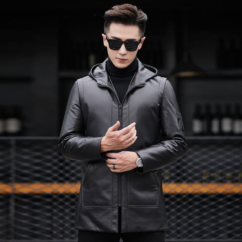 Genuine Leather Jacket Men Winter Warm Jackets Mens Hooded Real Sheepskin Coat Duck Down Coats Jaqueta Couro 89910 YY368