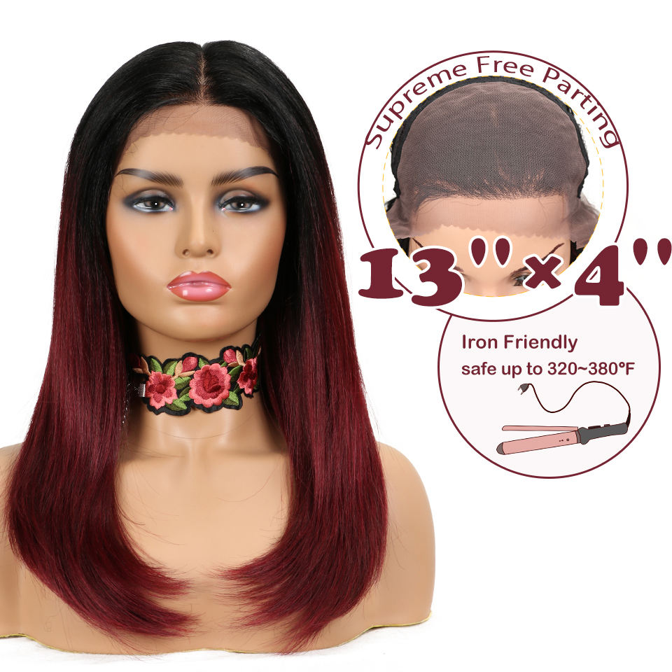 "Magic 22""Inch 13X4 Synthetic Lace Front Wig For Black Women Red Brown Ombre Wigs Cosplay Afro Hair Straight Large Area Lace"