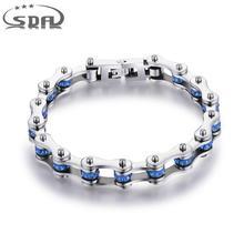 SDA ファッション 316L titanium 鋼ブレスレットブルー & 紫水晶オートバイチェーンブレスレット 10 ミリメートルワイド 17 センチメートル〜 22 センチメートル