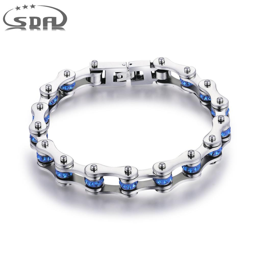 SDA Women 316L Titanium Steel Bracelets Blue & Purple Crystal Motorcycle Chain Bracelets 10mm wide 17CM~22CM Length YM001CBU