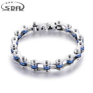 Image 1 - SDA Fashion 316L titanium Steel Bracelets Blue & Purple Crystal Motorcycle Chain Bracelets 10mm wide 17CM~22CM