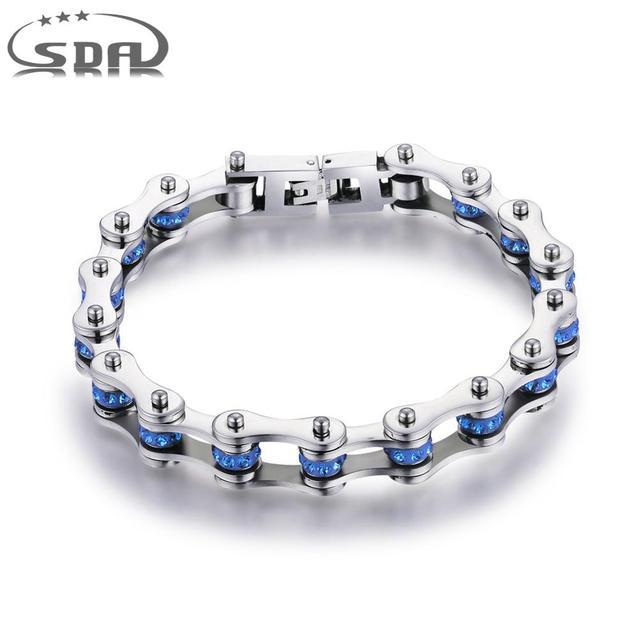 SDA Fashion 316L titanium Steel Bracelets Blue & Purple Crystal Motorcycle Chain Bracelets 10mm wide 17CM~22CM