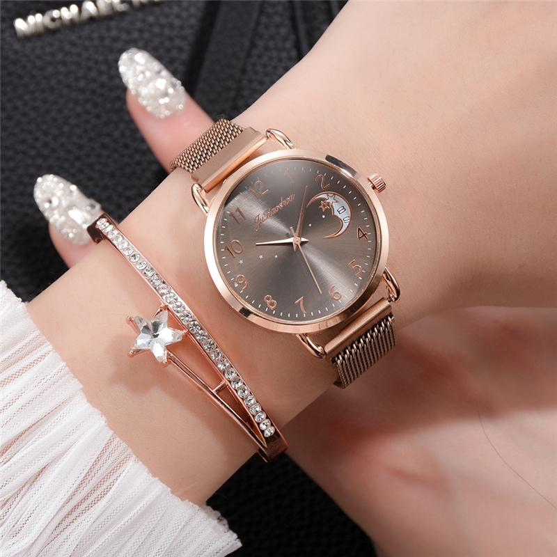 Rose Gold Mesh Strap Women's Fashion Watches Simple Numbers Dial Luxury Quartz Watch Women Clock Rose Gold Pointer Wristwatches 1