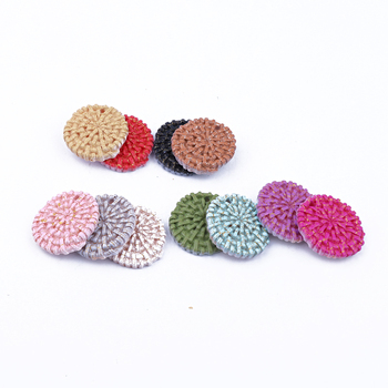Lote de 10 unidades de 23mm de colores variados, pendiente redondo círculo, abalorios de resina imitación de rafia, conector para pulsera, accesorios para colgante, joyería