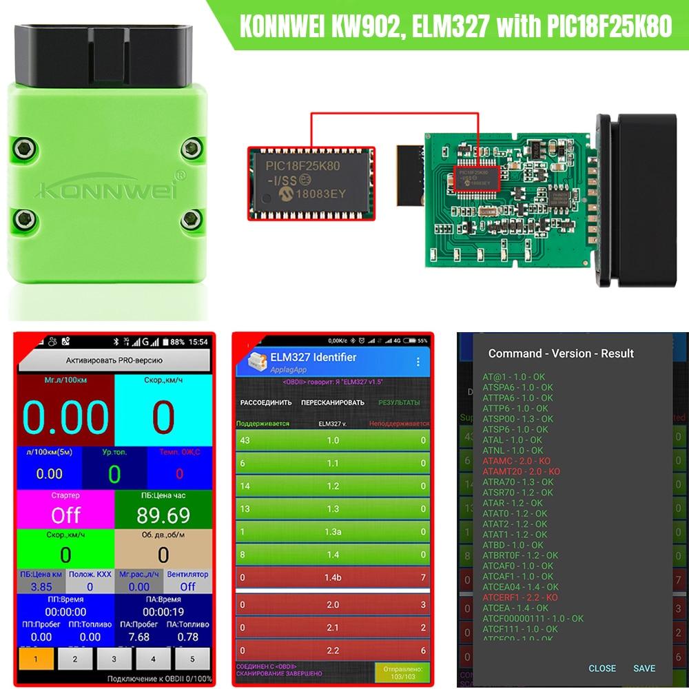 Image 5 - KONNWEI ELM327 V1.5 OBD2 Scanner KW902 Bluetooth Autoscanner  PIC18f25k80 MINI ELM 327 OBDII KW902 Code Reader for Android PhoneCode  Readers
