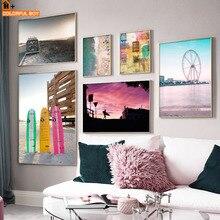 Tabla de Surf colorida Beach Van Vintage carteles nórdicos e impresiones de arte de la pared pintura en lienzo imprimir cuadros de pared para sala de estar Bar