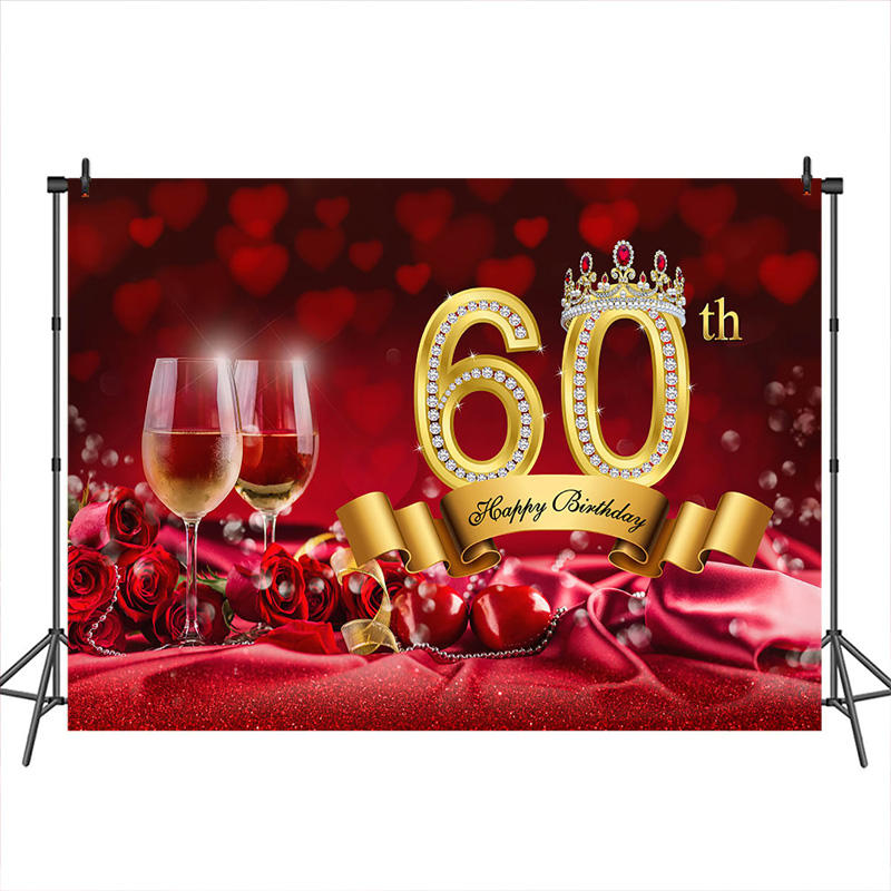 <font><b>60th</b></font> <font><b>Birthday</b></font> <font><b>Backdrop</b></font> for Photography Rose Red Curtain Crown Champagne custom background photocall photo studio photobooth image