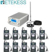 Retekess sem fio sistema de transmissão fm tr502 15 w transmissor fm + 10pcs pr13 rádio antena para igreja reunião tradução
