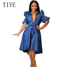 TIYE Sexy Casual Denim Dress Summer Outfits for Women Elegant Ruffles Hollow Out Lace-up Vintage Party Vestidos De Verano