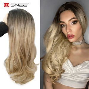 Image 2 - Wignee Middle Part Ombre Blonde Long Wavy Hair Synthetic Wig For Women Natural Heat Resistant Daily/Party Fiber Natural Hair Wig