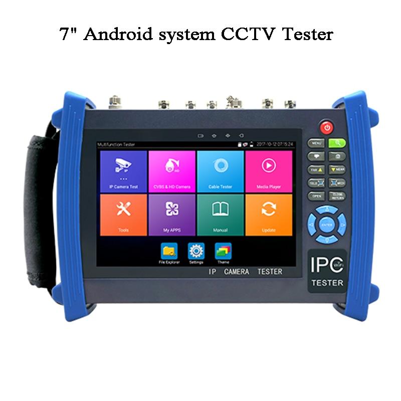 7 Inch H.265 Security Video Camera Tester CVI TVI AHD SDI Test Wireless IP Scan ONVIF HDMI POE RJ45 IPC Test Android CCTV Tester