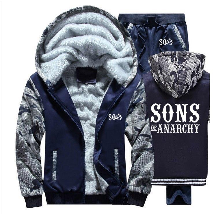 SOA Sons Of Anarchy Hoodies Mens Suit Winter Fleece Thicken Warm Zipper Coats Sweatshirt Mens Hoodies Jacket +Pants 2Pcs Sets