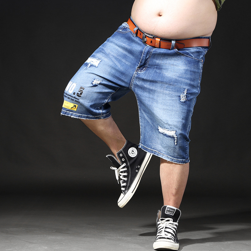Shorts Large Size Men Summer Breeches Hole Distressed Bermuda Male Vintage Stretch Knee Jean Men Big Denim Torn Plus Size Shorts