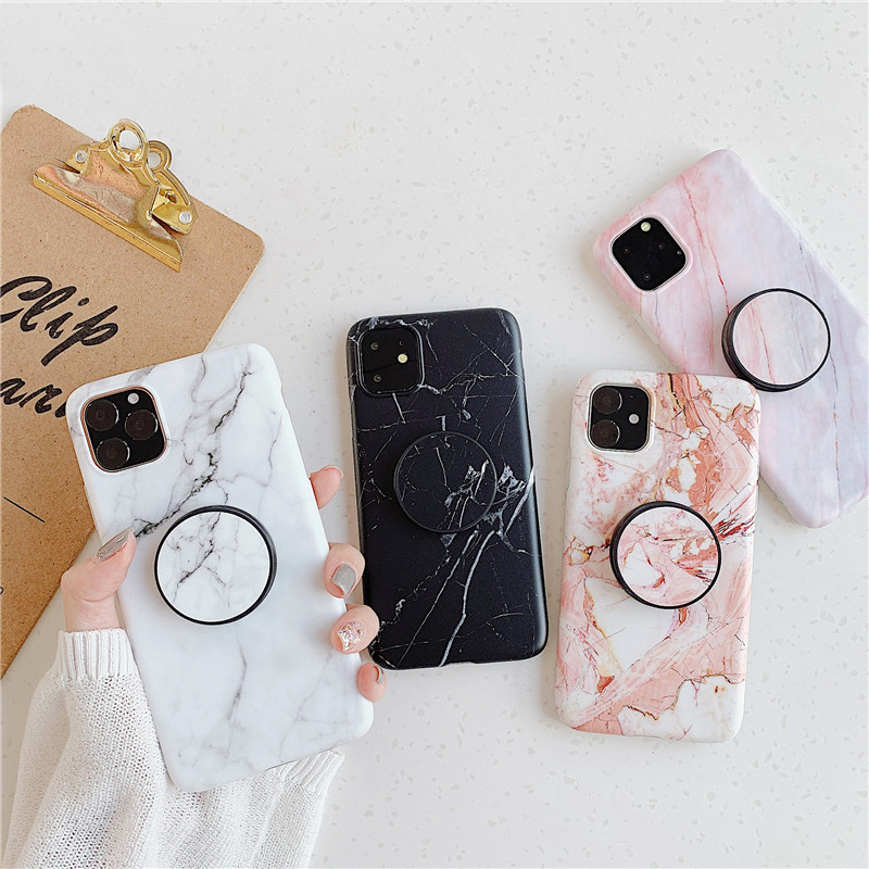 LOVECOM Clasical Marble Phone Case For iPhone 11 Pro Max XR XS Max 6 6S 7 8 Plus X Folded Flexible Holder Soft IMD Back Cover(China)