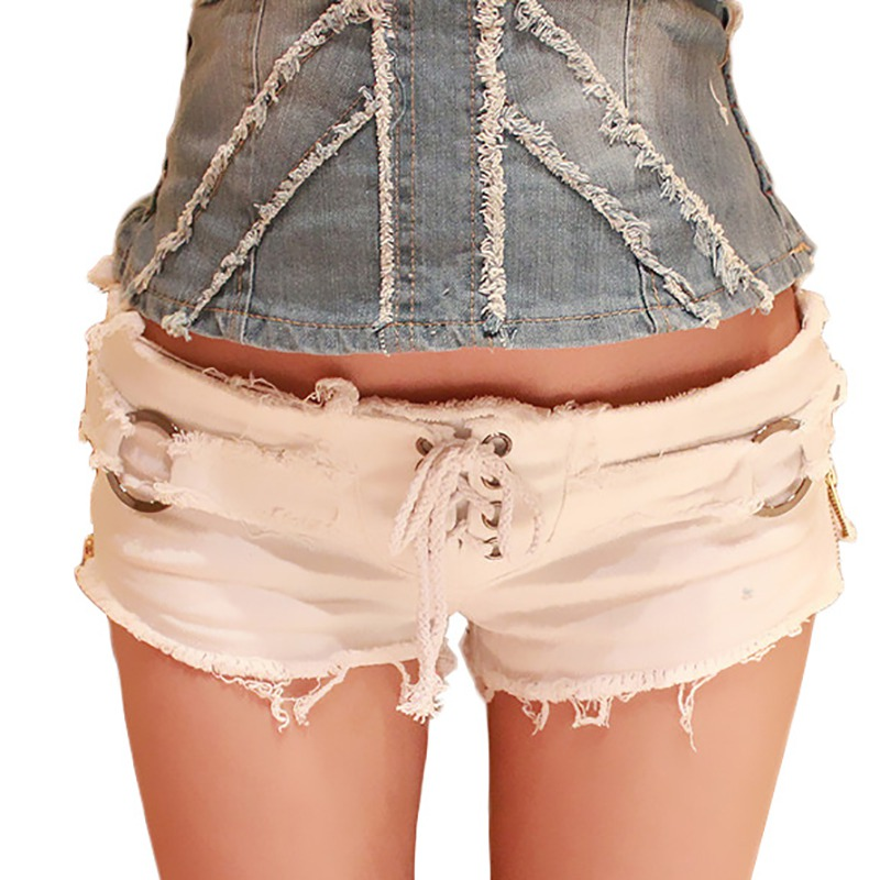 Women Lace Up Jeans Shorts Sexy Side Zippers Low Waist Denim Shorts Summer Fashion Streetwear Ripped Short Jeans