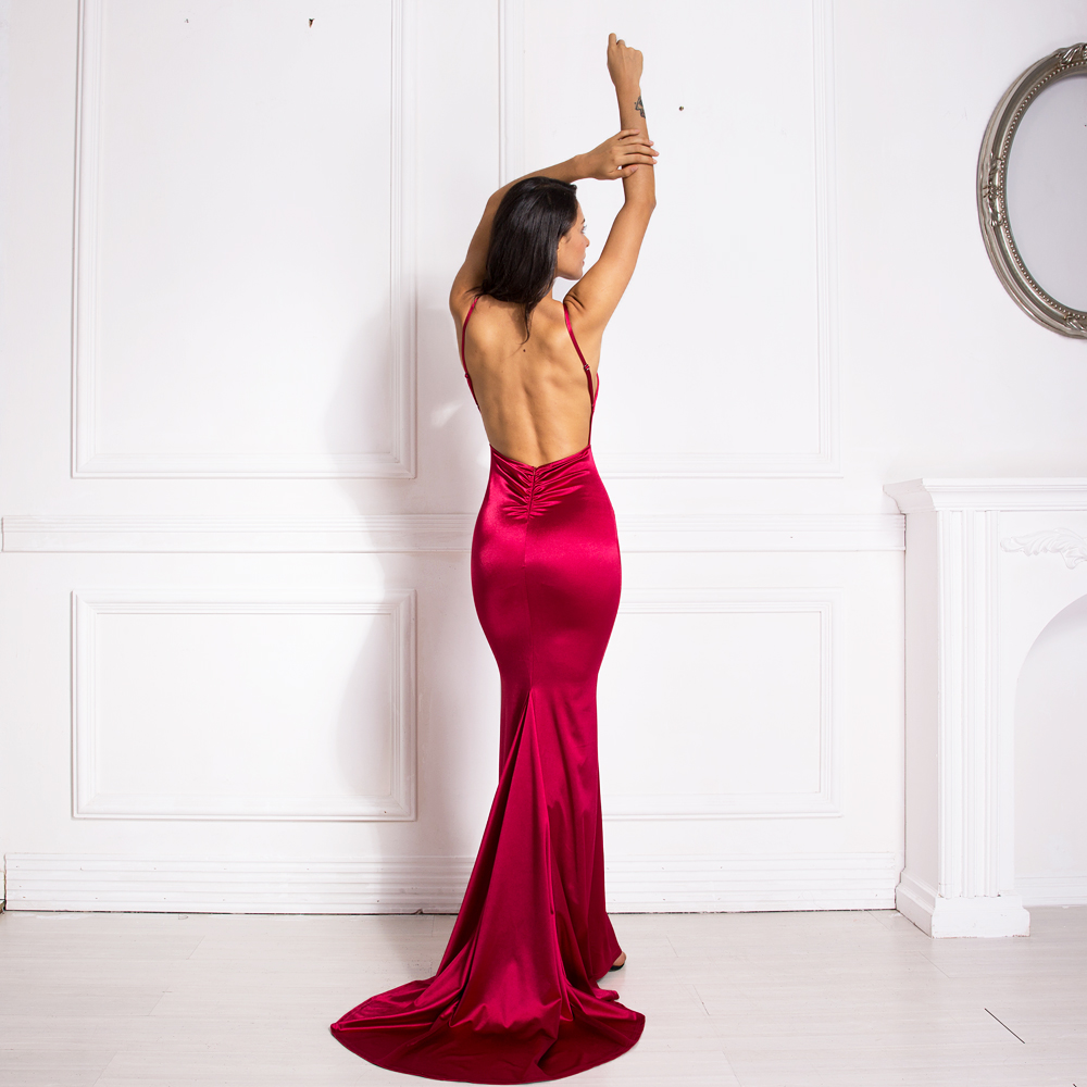 Deep V-Neck Burgundy Satin Mermaid Open Back Long Evening Dress 7