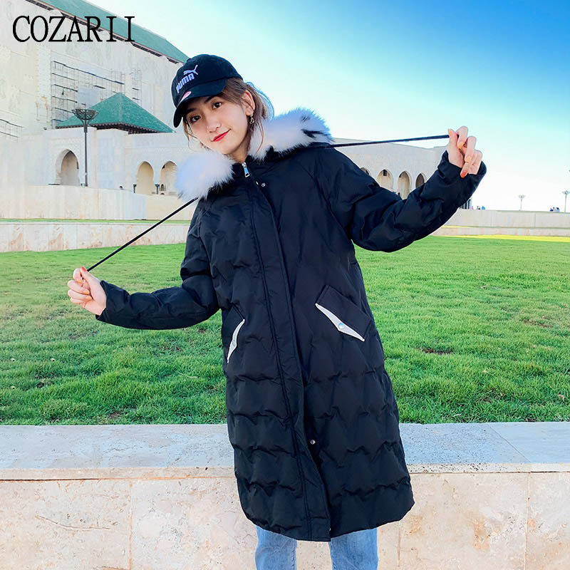 COZARII winter women jacket 2019 solid hooded   parkas   zipper thick big fur collar loose long casual style coat female plus size