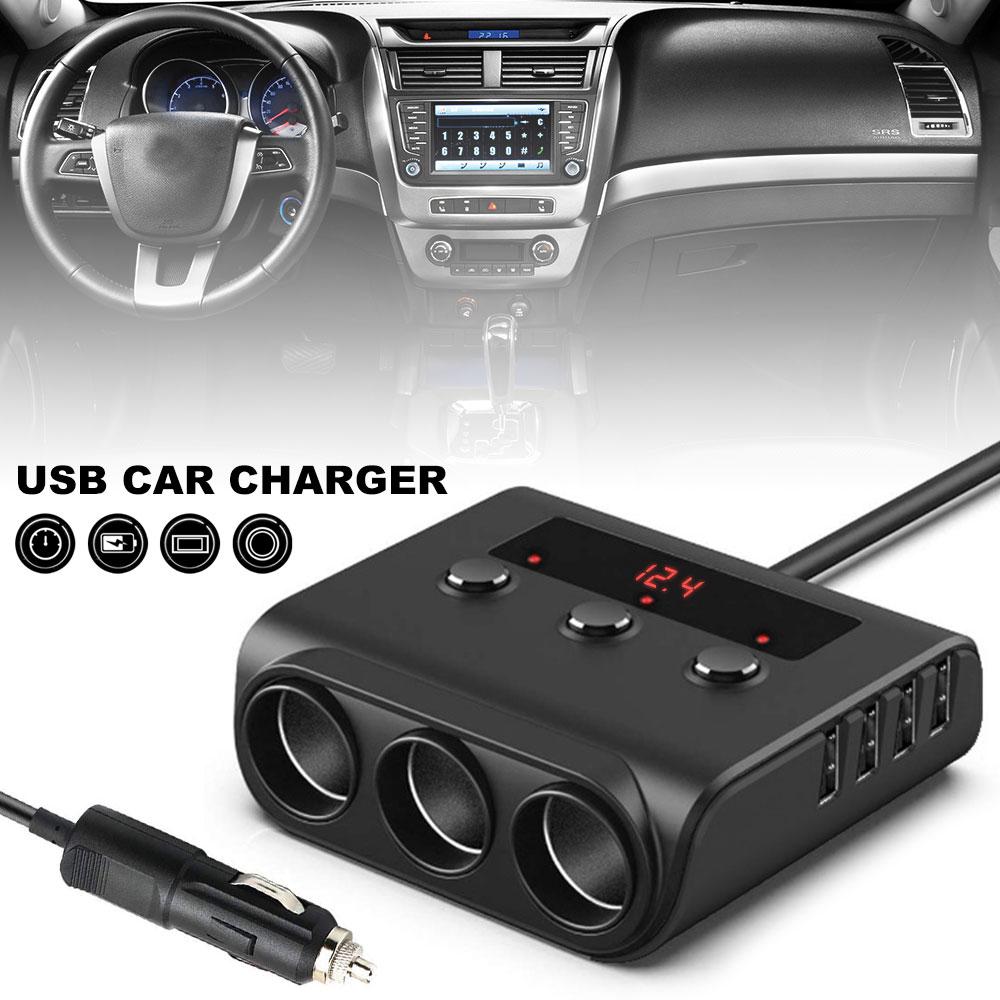 Multi-function 4-port USB Car Cigarette Lighter 100W Cigarette Lighter Dispenser USB Port Charger Adapter for 5V 12V 24V Car