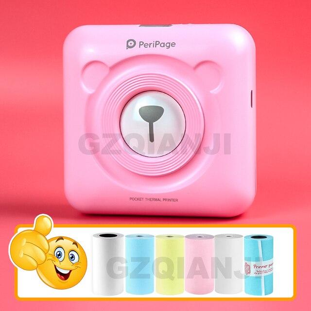 Peripage Mini imprimante de photos Portable, impression thermique, connexion Bluetooth et USB, pour téléphone Portable Android et iOS, format A6