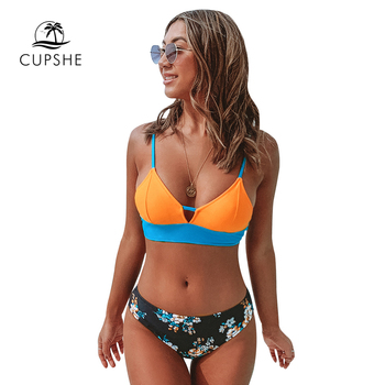 CUPSHE Colorblock and Floral Print Bottom Bikini Sets Sexy Lace Up Swimsuit Two Pieces Swimwear Women 2020 Beach Bathing Suits 2