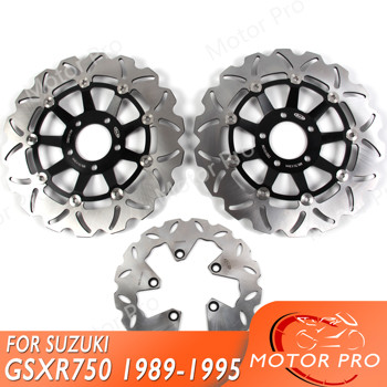 For SUZUKI GSXR 750 1989 - 1995 Front Rear Brake Disc Disk Rotor Kit GSX R GSX-R GSXR750 1990 1991 1992 1993 1994 1100 BLACK image