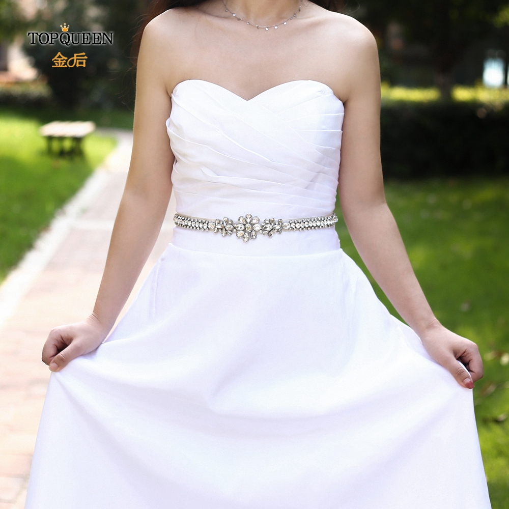 TOPQUEEN S258 Bridal Belt Rhinestone Beaded Belt Crystal Elegant Wedding Sashes  Wedding Accessories  Wedding Bridal Sashs