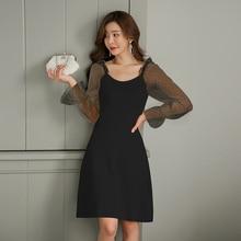 купить Women Mesh Patchwork Polka Dot Dress Korean Style Good Elastic Knitted Black Dress Women A-line Casual Dinner Dress Ladies Ropa по цене 1963.71 рублей