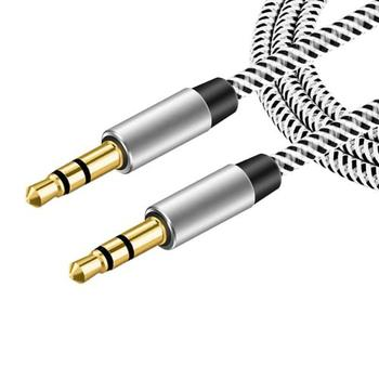 Car Aux Cord 1m Nylon Jack Audio Cable for Mercedes W204 W210 AMG Benz Bmw E36 E90 E60 Fiat 500 Volvo S80 image
