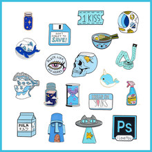 Biru Kartun Enamel Bros Hewan Kucing Ikan PS Paduan Lencana Tiket Film Post-It Notes Jam Pasir Susu Pin Fashion pakaian Perhiasan(China)