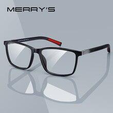 MERRYS تصميم الرجال الفاخرة نظارات بمادة الخلات إطار قصر النظر وصفة النظارات الربيع المفصلي سيليكون معبد تلميح S2518