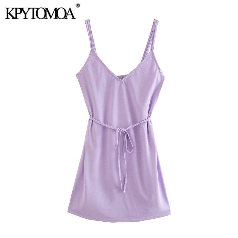 KPYTOMOA Women 2020 Chic Fashion With Belt Wrap Mini Dress Vintage V Neck Double Straps Female Dresses Vestidos Mujer