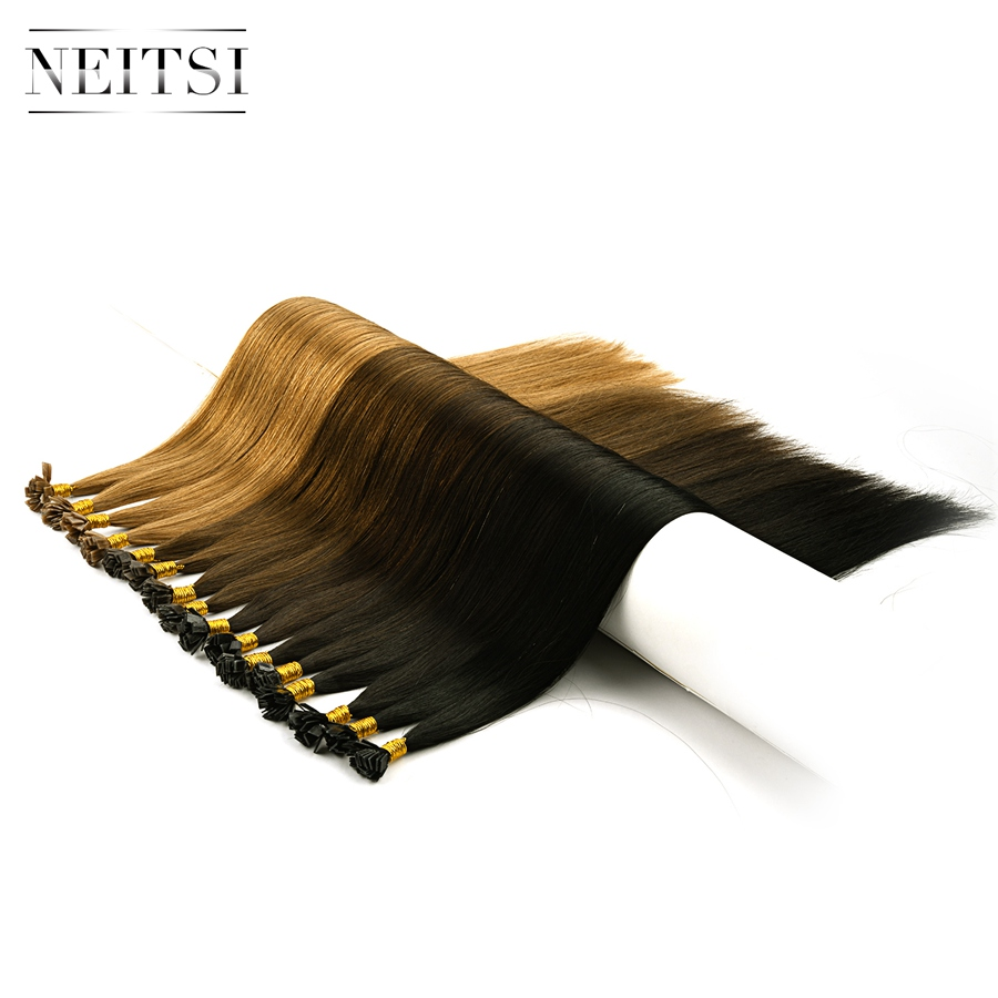 "Neitsi Double Drawn Remy Flat Tip Human Hair Extensions 24"" 1.0g/s 25pcs Straight Capsules Keratin Pre Bonded Salon Hair Sample"