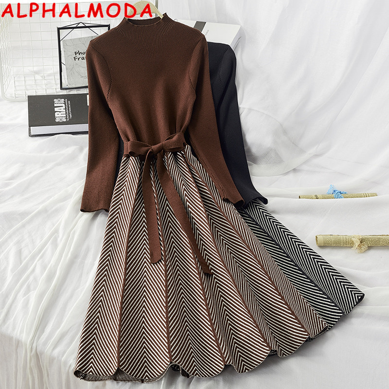 ALPHALMODA High Collar A-line Knit Dress Women's 2019 New Thickened Arrow Striped Women Elegant Sashes Knitted Dress