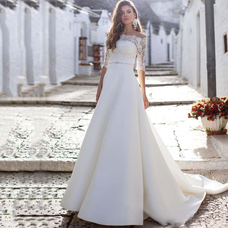 Romantic Lace Satin Wedding Dresses Half Sleeves Two Pieces A-line Beaded Garden Bridal Gowns Garden Bridal Gowns