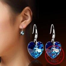 Женские серьги из серебра 925 пробы с синим кристаллом