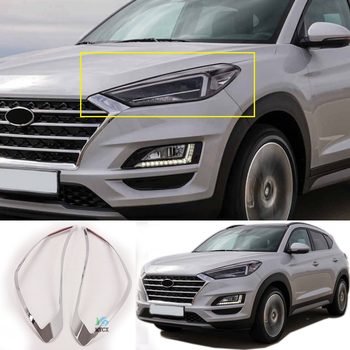 2PCS For Hyundai Tucson 2019 2020 2021 ABS CHROME FRONT HEAD LIGHT LAMP COVER HEADLIGHT TRIM EYELID ACCESSORIES
