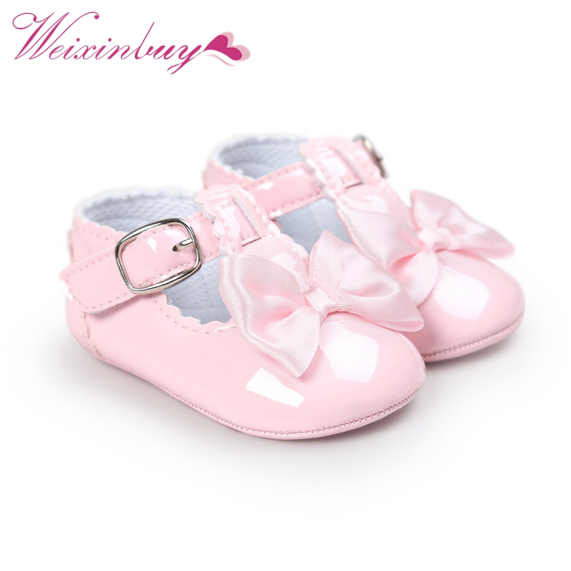 Newborn Baby Girls Shoes PU Leather Buckle First Walkers Red Black Pink White Blue 0-18Months Baby Shoes