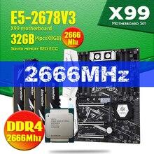 X99 TF اللوحة DDR4 و DDR3 LGA2011 3 و LGA 2011 إنتل سيون E5 2678 V3 8 جيجابايت X 4 قطعة = 32 جيجابايت 2666 ميجا هرتز الذاكرة اللوحة مجموعة