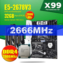 X99 TF האם DDR4 ו DDR3 LGA2011 3 ו LGA 2011 Intel Xeon E5 2678 V3 8GB X 4PCS = 32GB 2666MHz זיכרון לוח האם סט