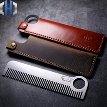 Titanium Alloy Tactical Comb Hairdressing Stainless Steel Combing With Leather Case EDC Equipment Tools
