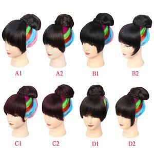 Image 4 - Amir syntetyczne bułeczki do włosów z grzywką Clip in Chignons włókno termoodporne czarne bordowe kolory włosy kucyk dla kobiet