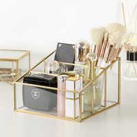 Nueva Europa cepillo de maquillaje de Metal tubo de almacenamiento ceja lápiz organizador de maquillaje cuenta joyería de cristal caja de almacenamiento Dropshiping