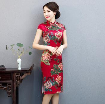 New Cheongsam Vintage Chinese Style Short Peony Party Evening Dress Oriental Womens Elegant Qipao Tradition Dresses