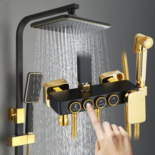 YUJIE bathroom full copper multifunctional thermostatic black shower set four-speed booster nozzle copper mixing valve ZSHY-3001