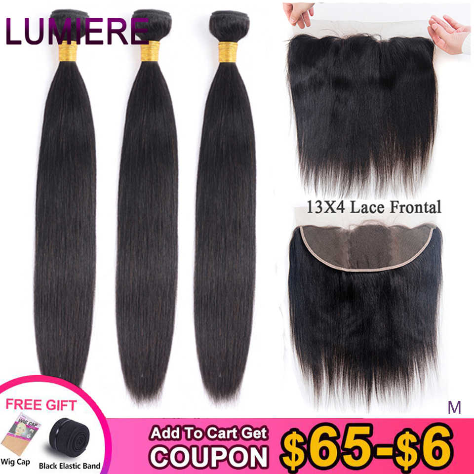 "Lumiere Peruvian Straight Hair 13x4 Lace Frontal With Bundles ""8-28"" Medium Ratio Remy Human Hair Bundles with Frontal Color 1B"