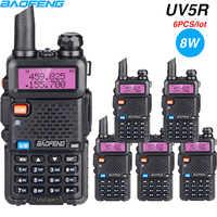 6PCS Power 8W Walkie Talkie Baofeng UV 5R Dual Band Two Way Radio UV5R Protable CB Ham Radio FM Transceiver VHF UHF Wholesale